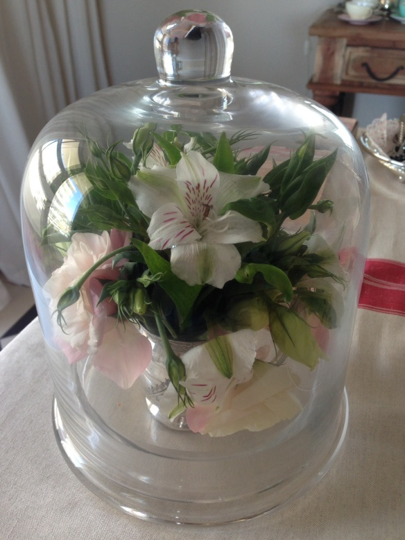 Flowers in glass dome