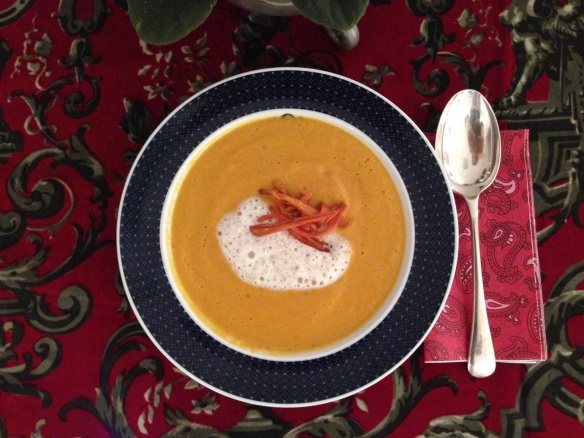 Roasted carrot, marmalade and ginger soup
