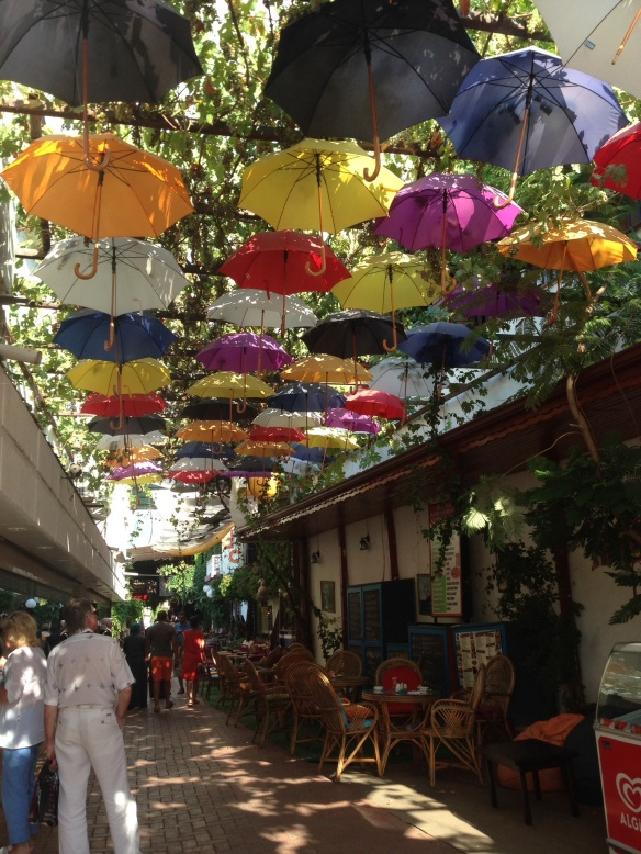 Creating shade, street in Fethiye