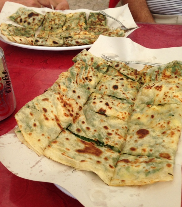 Turkish pancakes with spinach and cheese