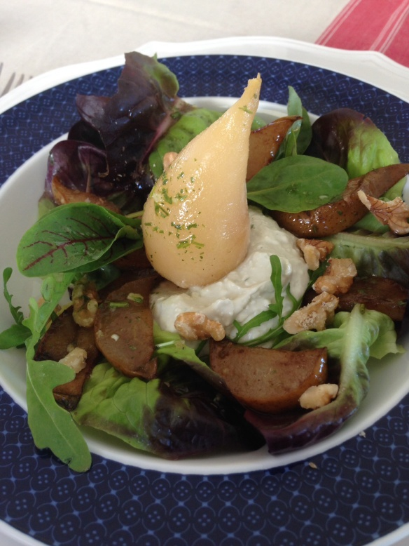 Blue Cheese Mousse, baby pear and walnut salad