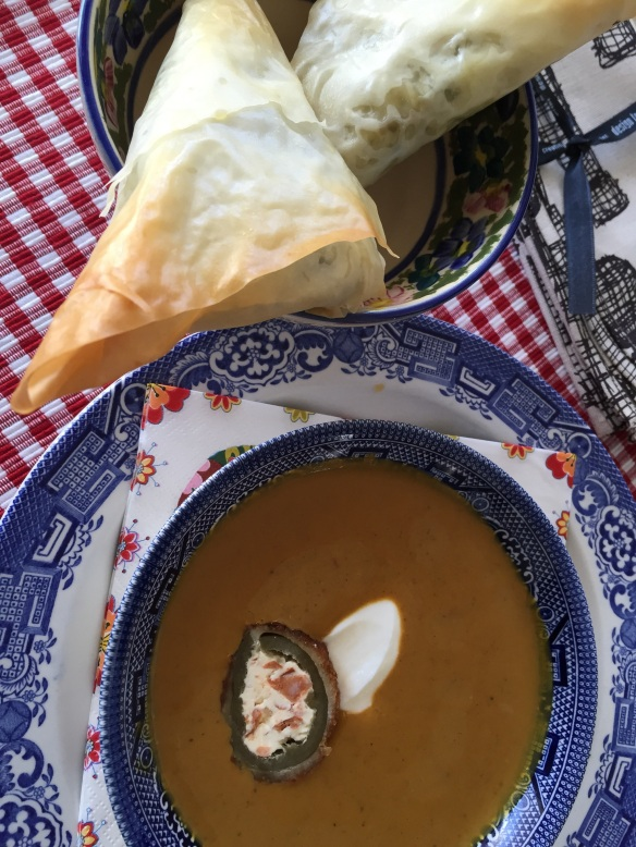 Curry Butternut Soup with Spanakopita